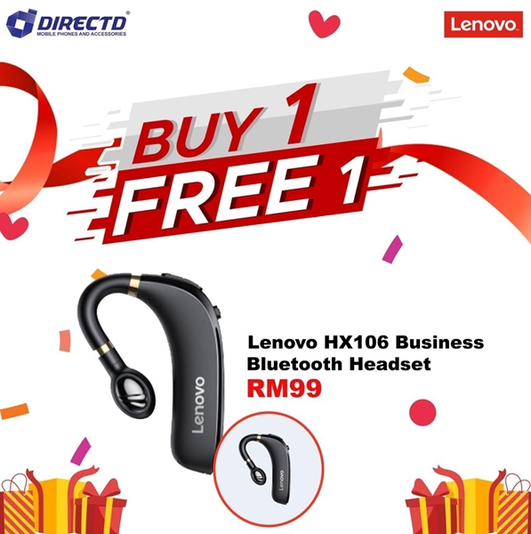 Picture of LENOVO HX106 Business Bluetooth Headset | Ear Hook Bluetooth 5.0 Earbuds with Mic | HiFi Sound Quality | HD Call | Noise Reduction
