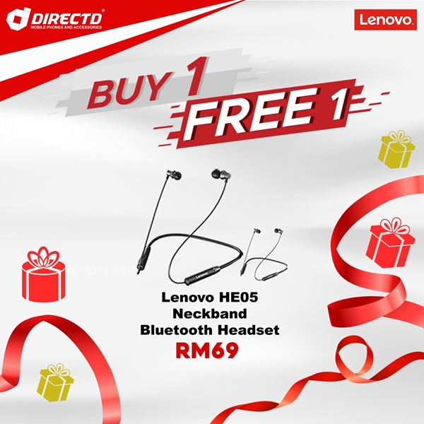 Picture of LENOVO Sport Wireless Headsets (HE05) - ORIGINAL/GENUINE product by LENOVO! BUY 1 FREE 1 PROMO